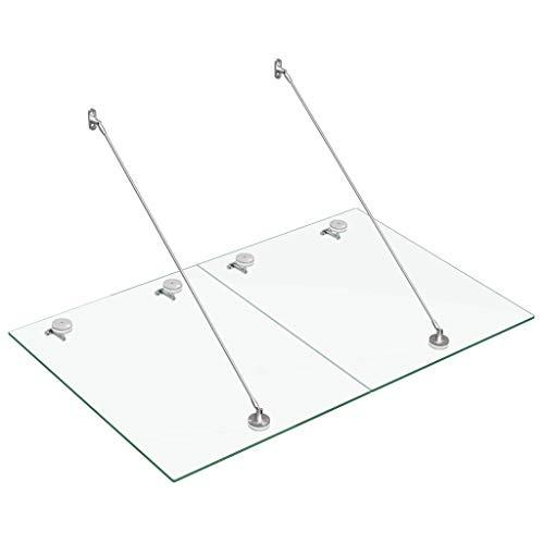 Festnight Marquesina para Puerta Vidrio de Seguridad VSG Acero 180 x 75 x 1,2 cm Transparente y Plateado, Techo de Vidrio para Exterior, Toldo de Cristal de Seguridad