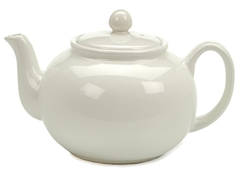 RSVP Large 6-Cup Stoneware Teapot, White