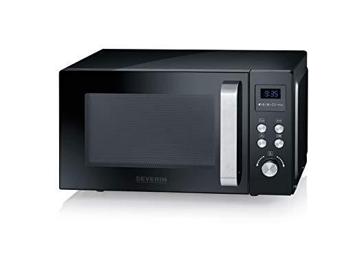 SEVERIN Micro-ondes 3-en-1, 900 W, Avec gril et fonction air chaud, Avec plateau rotatif (Ø 27 cm) et Gril, MW 7752, Noir