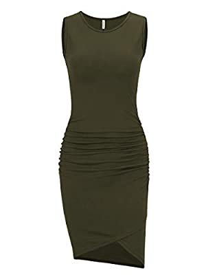 US Size:XS (US 0-2 ),S (US 4-6 ),M (US 8-10 ),L (US 12-14 ),XL (US 16-18 ) Features:round neck,sleeveless tank dress,side shirring,stretchy,fitted ruched bodycon sheath dress,tulip shape irregular hem,above knee length,casual fashion style Farbic:95%...