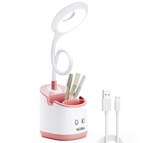 LED Schreibtischlampe Kinder mit Nachtlicht USB Akku Tischlampe Leselampe Buch Tageslichtlampe Dimmbare Nachttischlampe Touch Tischleuchte für Zuhause Büro Studie, Handyhalter & Stifthalter (Rosa)