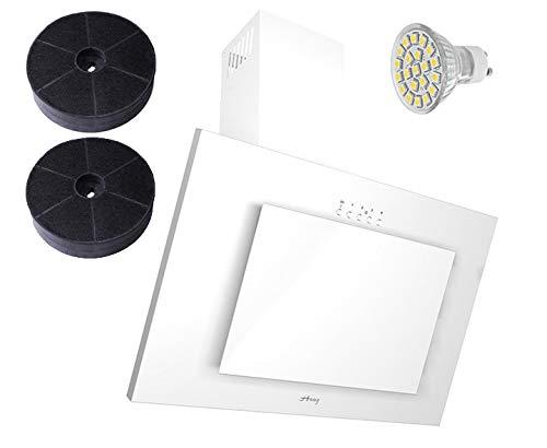 Haag Verticale C Bianco + vetro + LED, Filtro a carbone gratis. 60cm cappa aspirante, testa libero,...