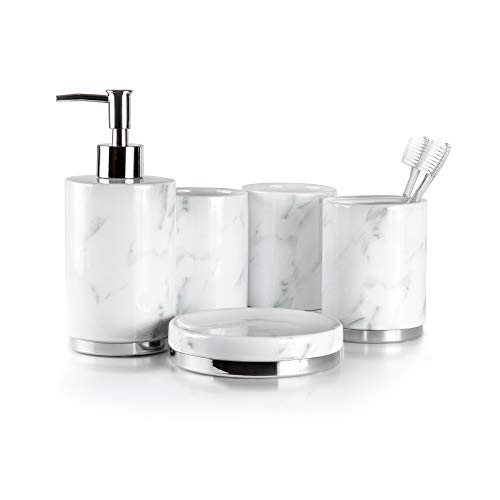 Willow&Ivory Bathroom Accessories Set | 5 Piece, Ceramic Bath Set | Toothbrush Holder, Soap Dispenser, Soap Dish, 2...