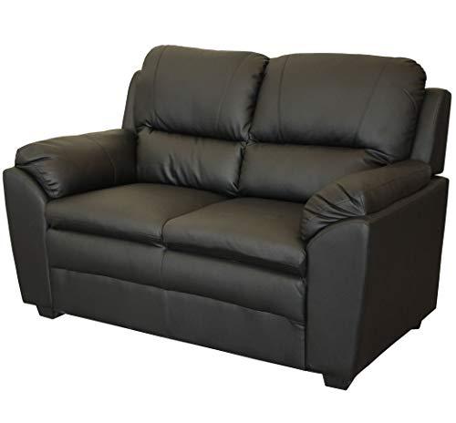 KMH®, Gemütliches 2-sitzer Sofa Prag mit schwarzem Kunstlederbezug (#204671)