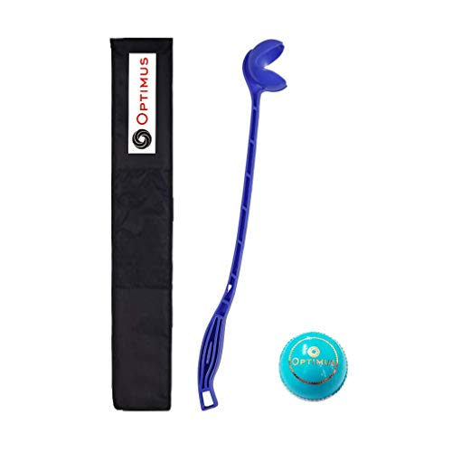 Optimus® Full Size 1 Sidearm Cricket Ball Thrower Holder Stick with Heavy Tetron Cover & 1 Optimus® Cricket Leather Ball