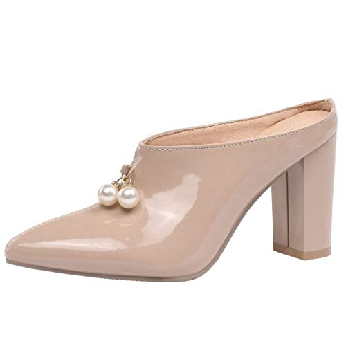 RAZAMAZA Mujer Moda Tacón Alto Mules Sandalias Puntiagudo Zuecos Mulas Zapatos De Noche Verano Apricot Talla 43 Asian