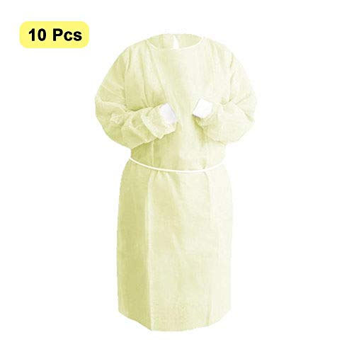 Disposable Isolation Gown with Elastic Cuff,Adults Disposable Gown Coverall,Indoor Outdoor Safety Personal Coveralls Anti-Fog Anti-Particle Gown Home Outdoor Clothing for Outdoor Cycling(Pack of 10)