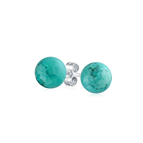 Simple Gemstone Stabilized Turquoise Round Ball Stud...