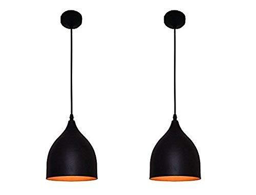 DECORVAIZ E27 5-Watts Oval Shape Ceiling Light, Black - Pack of 2