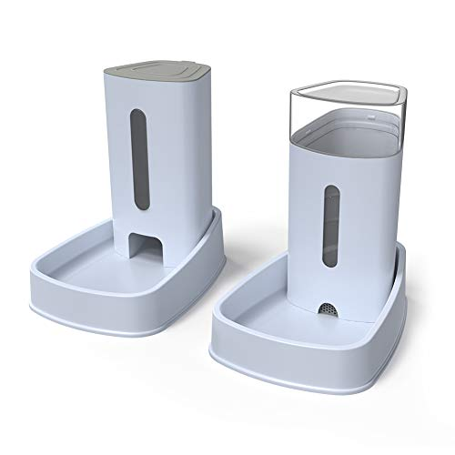 YGJT Automatischer Futterspender Katze/Hunde Wasserspender und Futterspender Haustier Automatischer Wasserspender,Futterautomat Katze,Katzen Trinkbrunnen Hund Schüssel jeweils 3.8 L (Neu)