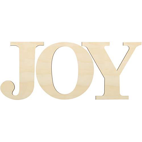 3 Pezzi 12 Pollici JOY Lettere di Legno per Casa Lettere Natale in Legno Larga Cartello per Decorazione della Parete di Casa