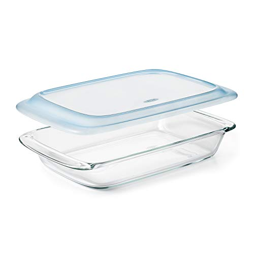 OXO Freezer-to-Oven Safe 3 Qt Glass Baking Dish with Lid, 9 x 13