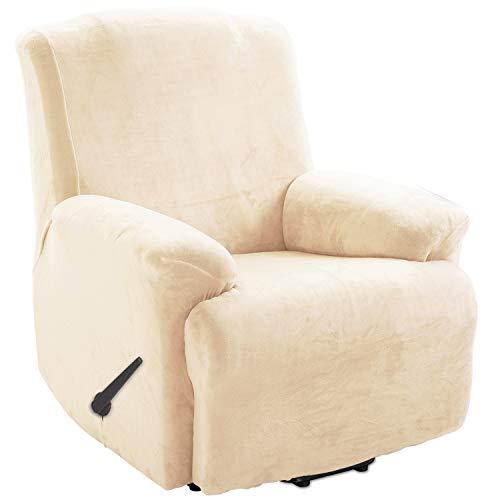 TIANSHU Funda de Sillón Relax Terciopelo,Cubierta Suave del sofá de la Felpa del Terciopelo para,Cubiertas Elegantes de los Muebles de Lujo(Relax,Marfil)