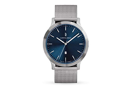 Lilienthal Berlin Huxley Silver Blue | Made in Germany | Unisex Armbanduhr | 40mm (Silber - Mesh)
