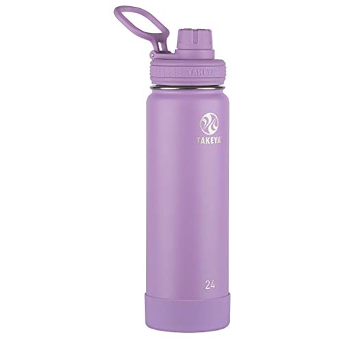 Takeya Actives Insulated Stainless Steel Water Bottle with Spout Lid, 24 oz, Lilac