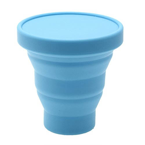 Verre à thé pliable en silicone 200 ml - Bleu - Pour voyages, camping