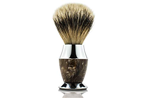 Maison Lambert 100% Silvertip Badger Bristle, Horn imitation Handle Shaving Brush - FREE US SHIPPING - Perfect gift for wet shavers for christmas, birthday or fathers day!
