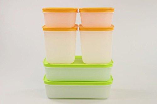 Tupperware 30849 - Cristallo di ghiaccio 1,0 l (2) + 1,1 l (2) + 450 ml (2) arancione/bianco