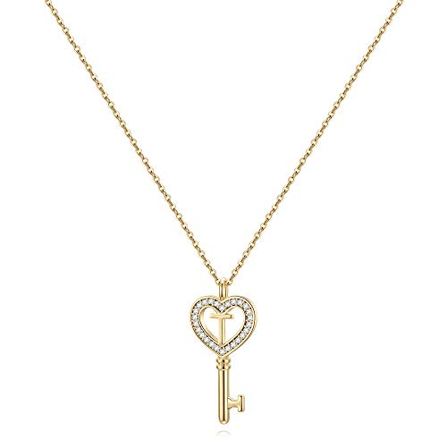 MONOZO Birthday Gifts Letter Necklace for Girls - 14K Gold Filled T Initial Necklaces Key Charm Cubic Zirconia Love Pendant Monogram Necklace for Her Birthday Christmas Valentine's Day Jewelry Gifts