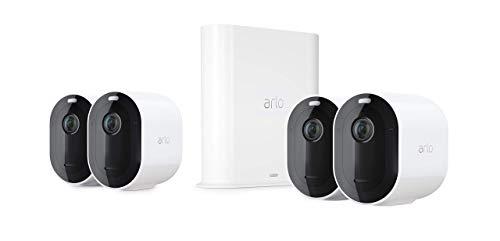 Arlo Pro3 VMS4440P Sistema di Videosorveglianza Wi-Fi con 4 Telecamere 2K HDR, Audio 2 Vie, Visione Notturna a Colori, Faro e Sirena Integrati, Visione 160°, Interno/Esterno, Bianco