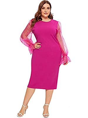 Fabric has some stretchy, soft, lightweight, skin touch material, Features: plus size, round neck, beaded pearls /dot mesh /3D applique long sheer sleeve,contrast mesh, knee length, high waist pack hip. Elegant and casual style, slim comfort bodycon ...
