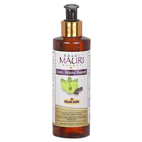 Khadi Mauri Herbal Amla Shikakai Shampoo - Strengthens Roots & Hair Follicles, Repairs Damage & Fights Hairfall - Enriched with Natural Ingredients - 210 ML