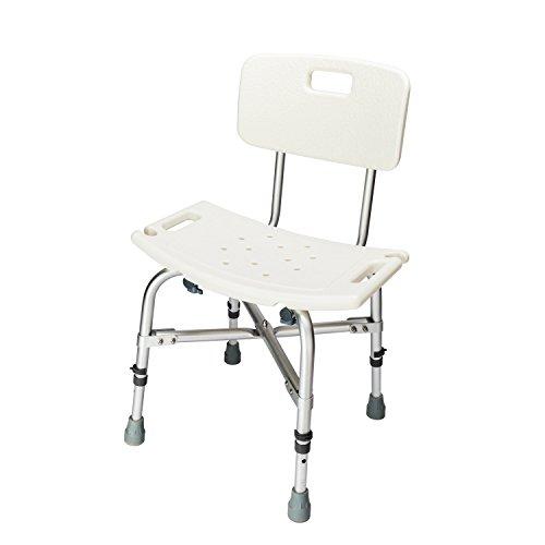 Binrrio Shower Chair Heavy Duty Elderly Bath Chair with Backrest, Non-Slip Foot Bathtub Shower seat-Adjustable Height for Seniors, Adults, Pregnant Women(White-Back-Heavy)