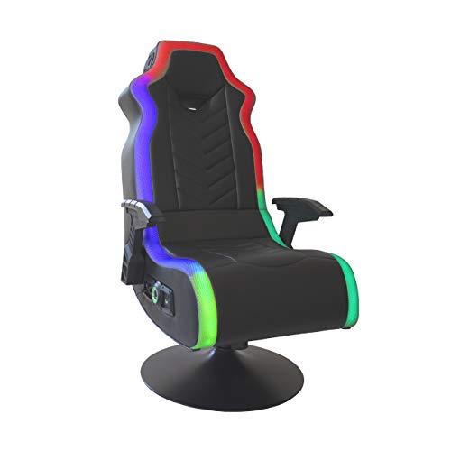 X Rocker RGB Prism Pedestal 2.1 Dual Gaming Chair with LED Lights, 33' x 25' x 45', Black