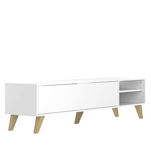 Marchio Amazon -Movian Enol - Mobile TV, 165 x 40 x 43.2 cm (L x P x A), colore bianco / gambe in...