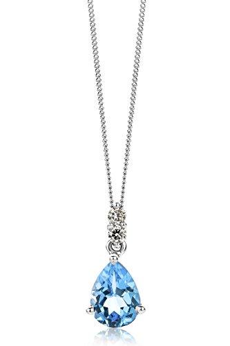 Miore Collana Donna con Catena,  Topazio Blu Diamanti taglio Brillante ct 0.06 Oro Bianco 9 Kt / 375  Catenina Cm 45