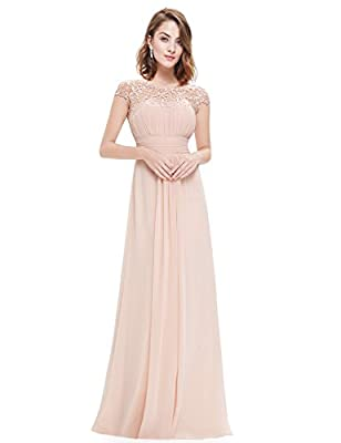 "Padded enough for ""no bra"" option Sexy open back and ruched bust design Lacey neckline decorated with rhinestones enhances the elegance of this dress Perfect as bridesmaid dresses, wedding guest dresses, evening dresses, ball gowns, prom party dresse..."