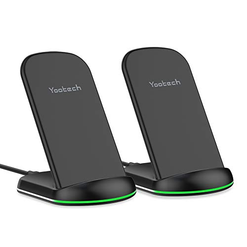 Yootech Wireless Charger,[2 Pack] 10W Max Qi-Certified Wireless Charging Stand, Compatible with iPhone 11/11 Pro/11 Pro Max/Xs MAX/XR/XS/X/8,Galaxy Note 10/Note 10 Plus/S10 Plus/S10E(No AC Adapter)