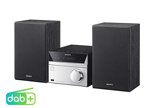 Sony CMT-SBT20B Micro-Systemanlage (Kompakte Design, CD, FM / DAB+ Tuner, RDS, USB-Eingang, Bluetooth, NFC) silber
