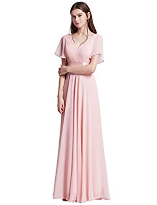 Fully lined, not padded, low stretch Special short sleeve style, high low, unique ruffles in the bust area Glamorous double V-neck evening dress, this beautiful dress features a v neckline, empire waist, flutter sleeves, and subtle high low hemline. ...