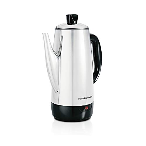 Hamilton Beach 12 Cup Electric Percolator Coffee Maker, Stainless Steel, Quick Brew (40616)