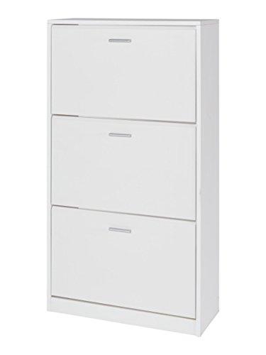 MUEBLECASA- Zapatero 3 puertas KIT, madera, Blanco, Capacidad para 24 pares,127cm Alto x 65cm Ancho x 25cm Fondo