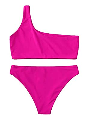 Features:Solid Color, One Shoulder, Bikini Set for Women. Soft with Good Elasticity, Comfy to Wear. Please refer to our Size Chart(Not Amazon).Recommend to CHOOSE One/Two Size Up! OCCASIONS: Tropical Vacation, Beach Party etc Machine Wash/ No Bleach