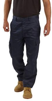 """Mens Cargo Work Trousers Size 28 to 52 Black or Navy Cargo Combat Trousers by BWM (32"""" Waist/Regular Leg, Navy)"""