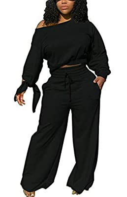 Material: The sweatsuit made of polyester + spandex, soft and skin-friendly. Feature: Sweatsuit for women 2 piece outfits, Vivid colorful, Long sleeves, Bow cuff, Off shoulder, Crewneck pullover Top, Wide leg sweatpants with adjustable drawstring, So...