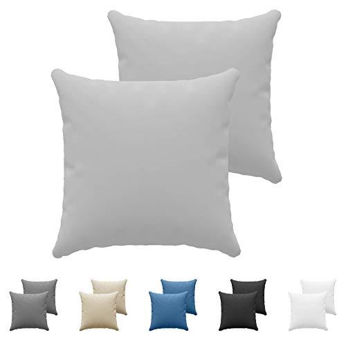 Dreamzie Set da 2 x Federa Cuscino 60x60 cm, Grigio Cotone, 100% Jersey di Cotone - Federa da Cuscino 60x60 - Copri Cuscino per Letto - Fodera Protezione per Cuscino
