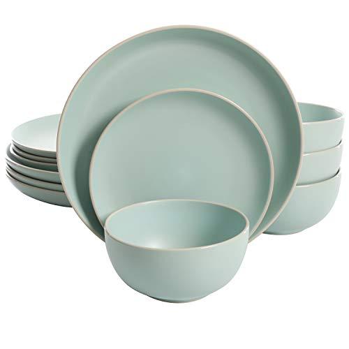 Gibson Home Rockaway 12 Piece Dinnerware, Teal Matte - 114387.12RM