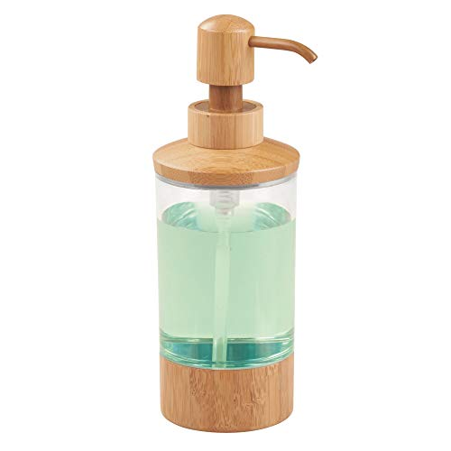iDesign Formbu Bamboo Refillable Soap Dispenser - 3' x 3' x 8.75', Clear/Natural