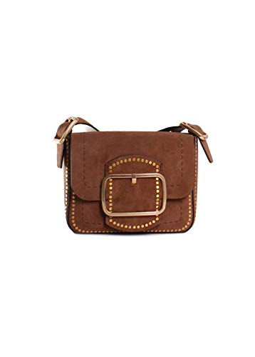 "31XUKPVDXSL Small flap shoulder bag crafted in suede leather. Features whip-stitched detailing and studded trim. Oversized buckle. Custom gold hardware. Adjustable single strap to 10"" drop. Snap closure. Unlined. Interior slip pocket. 9""W x 2.5""D x 7.75""H Imported"