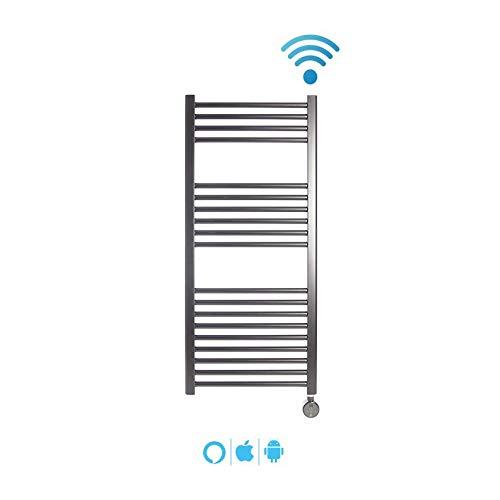 Radiador Toallero Electrico MALLORCA Cromado 400W · Termostato Digital · (1120 x 500mm) · El Primer Toallero Bajo Consumo Wi-Fi, Compatible con iOS y Android · Amazon Alexa y Google Home