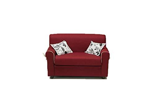 Am Group Home Divano 2 Posti Divanetto Salotto Soggiorno Zona Living Tessuto Moderno divani Slim (Bordeaux)