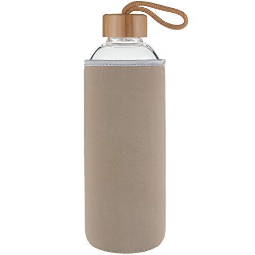 Ferexer Sports Trinkflasche Glas Wasserflasche mit Bambus Deckel 550 ml Gold
