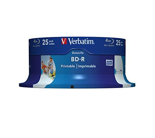 Verbatim BD-R SL Datalife 25 GB - Blu-Ray-Disk - 6-fache Brenngeschwindigkeit - Groß bedruckbar - Hardcoat Scratch Guard - Spindel - 25er Pack
