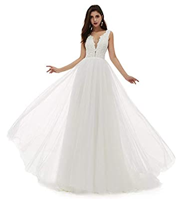 Pearls,Lace,Applique,Tulle,Satin,Sheer Neck Built in bra,Sleeveless,perfect for Church Wedding,Wedding Party,Beach Wedding,Special Occasion! NOTE:The dress is Ivory color,because of the light,it looks deep! When getting your order,we will contact you...