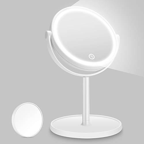 Kasimir Specchio da Trucco con Luce LED Specchio Cosmetico Illuminato Portatile Specchio Makeup Professionale Touch Screen 360 Girevole per Trucco Camera da Letto Rasatura e Viaggio - Bianco