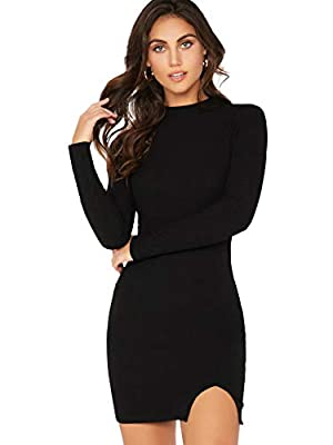 Fabric has some stretch Features: plain black, stand collar, long sleeve, keyhole back, rib-knit, split hem, bodycon, above knee length Occasions: suitable For Spring, Fall, daily, holiday, school, work, casual, outdoor, cocktail, night out, etc Mode...